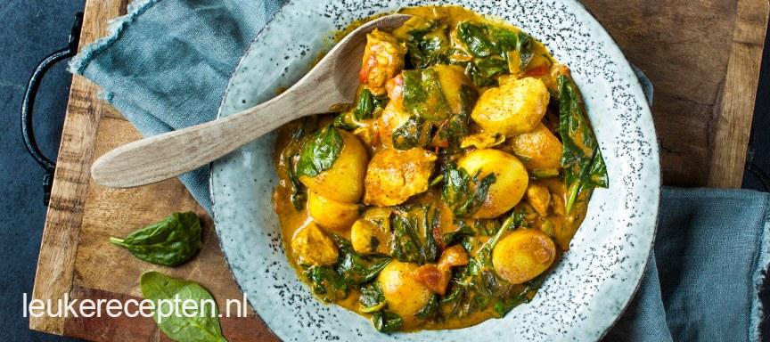 Curry met aardappel en kip