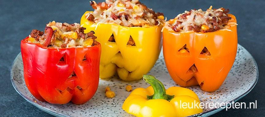 Gevulde Halloween paprika