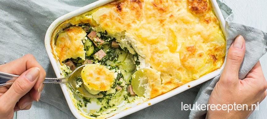 Aardappel spinazie schotel