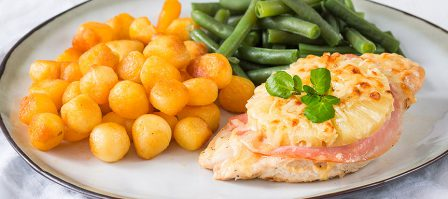 Lekker en snel: kip Hawaï uit de oven met Krokante Mini-Krieltjes