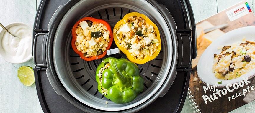 Gevulde paprika's uit de Bosch AutoCook multicooker en ik mag er 30(!) weggeven