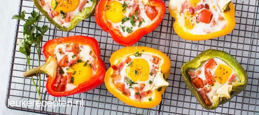 Paprika met ei uit de oven