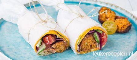 Wortelwrap met falafel