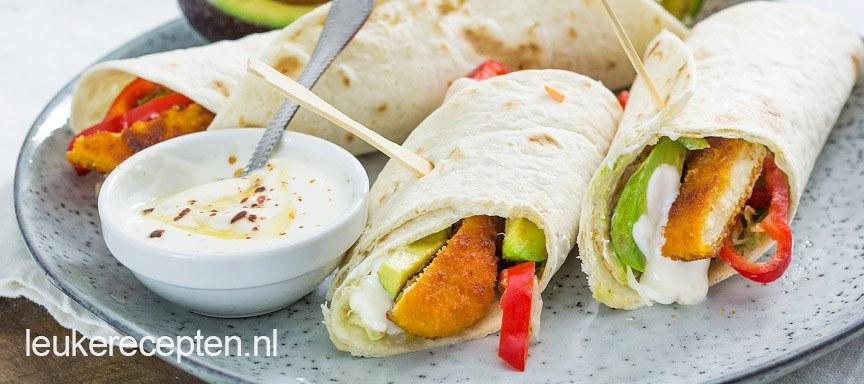wrap-met-kipschnitzel www.leukerecepten.nl