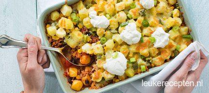 Ovenschotel aardappel chili