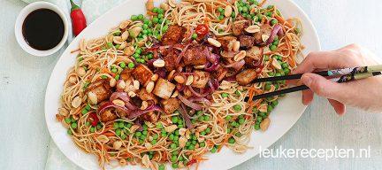 Budget recept: Noedel salade met tofu