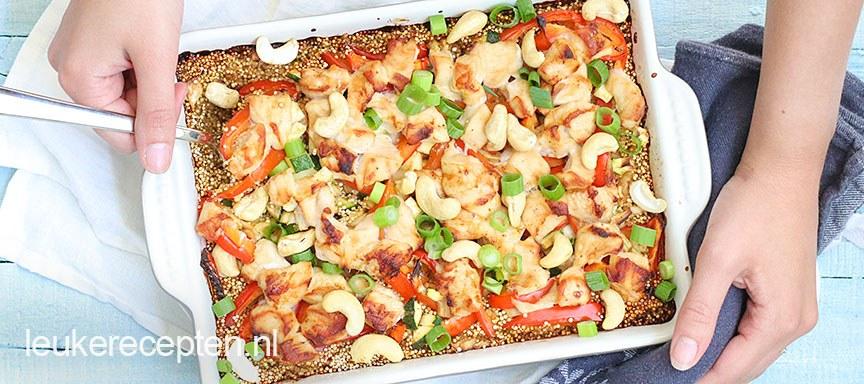 Quinoa ovenschotel met kip en cashewnoten