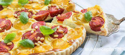 Tomatentaart met basilicum