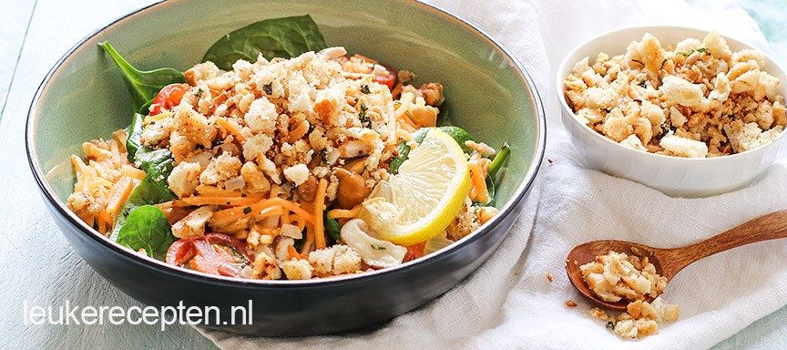 Light Recept: Pompoen spaghetti met broodkruim