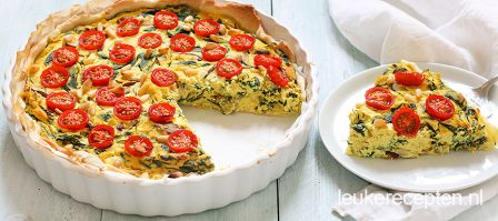 Vegan quiche met paddenstoelen