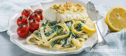 Pasta met spinazie en kabeljauw
