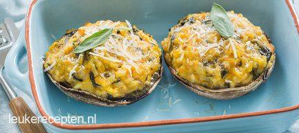 Portobello met pompoen risotto