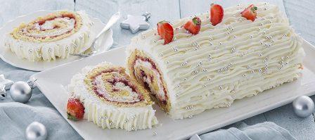 Kerstdessert: cakerol met aardbeienjam + 7 tips