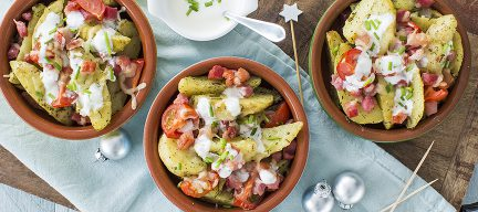 Feestelijk hapje: loaded potato wedges