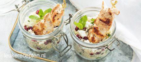 Couscous met kalkoen in een glaasje