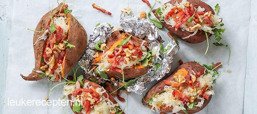 Budget recept: Gepofte zoete aardappel met zuurkool