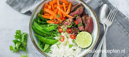 Light recept: Thai beef bowl