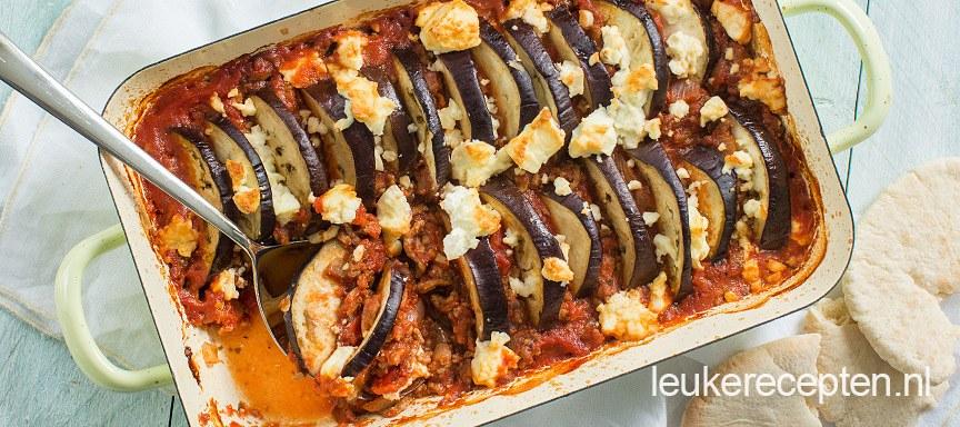 Ovenschotel met feta en aubergine