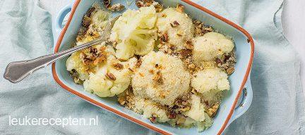 Bloemkool gratin met kaas en noten