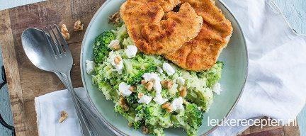 Broccolistamppot met gepaneerde speklapjes