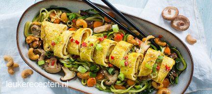 Thaise courgette noedels met omeletrol