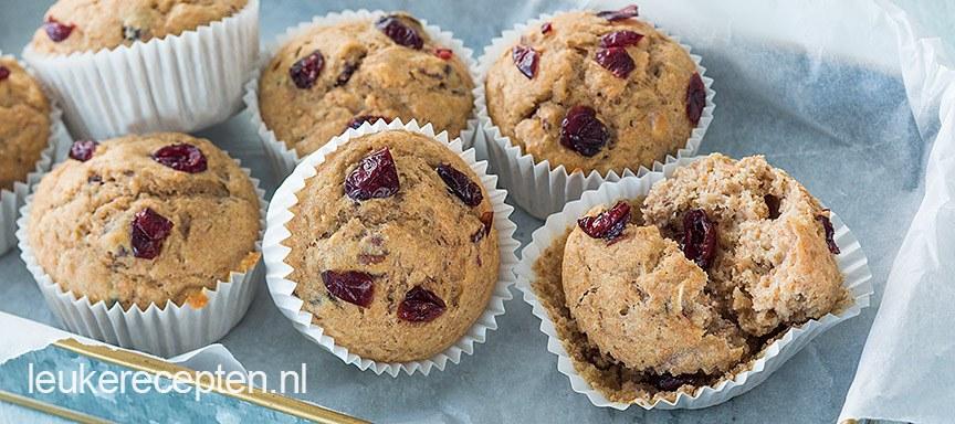 Bananenbrood muffins met cranberry
