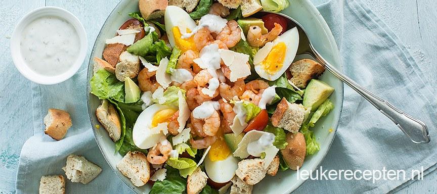 Caesar salade met pittige garnalen