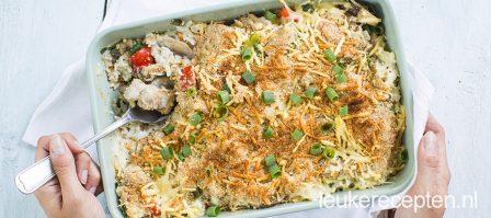 Romige rijstschotel met kip