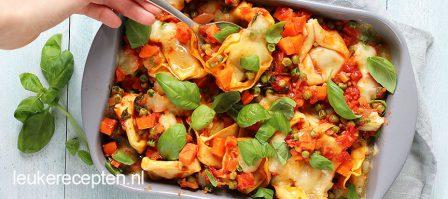 Budget recept: Vegetarische tortellini ovenschotel