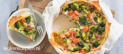 Filodeeg taart met broccoli