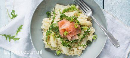 Risotto met witte asperges en zalm