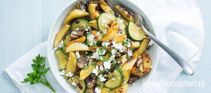Aardappelroerbak met champignons