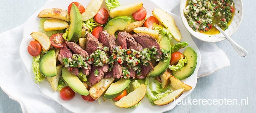 Chimichurri salade met biefstuk