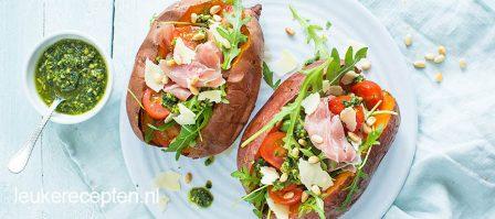 Zoete aardappel met Italiaanse vulling