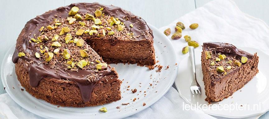 Chocolade cheesecake met pistache
