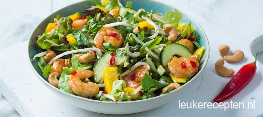oosterse salade met garnalen www.leukerecepten.nl