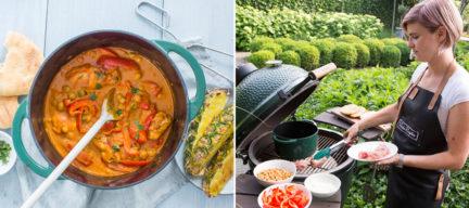 Gele curry met gegrilde kip van de Big Green Egg