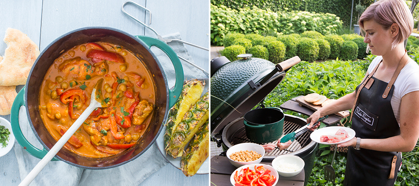 Gele curry met gegrilde kip van de Big Green Egg