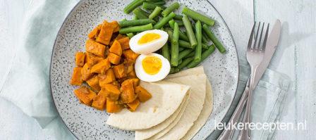 Vegetarische roti met zoete aardappel