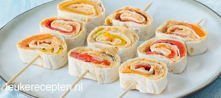 tortilla rolletjes met hummus www.leukerecepten.nl
