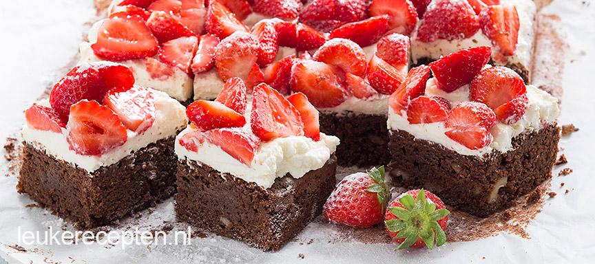 Brownies met aardbeien