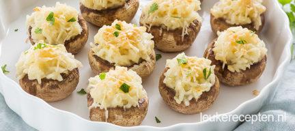 Gevulde champignons met truffelrisotto