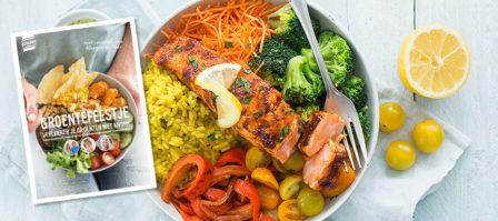 Zalm piri piri bowl + gratis kookboek 'groentefeestje'