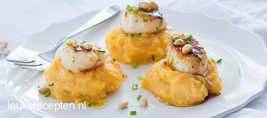 Coquilles met zoete aardappelpuree