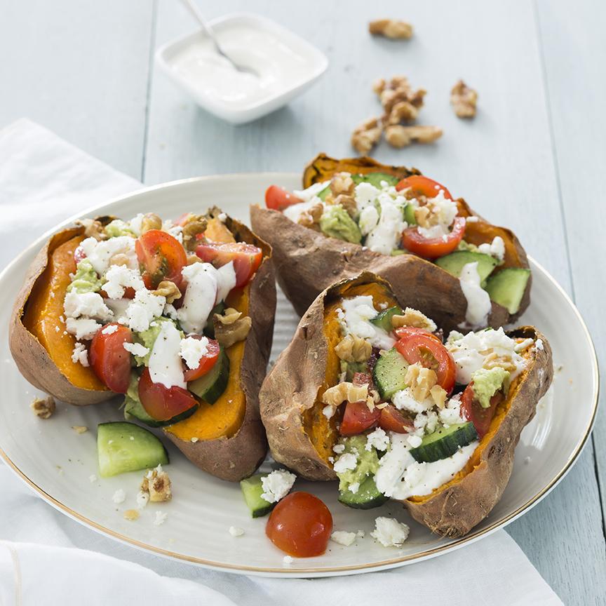 griekse zoete aardappel met avocado www.leukerecepten.nl