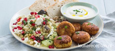 Zelfgemaakte falafel met couscous