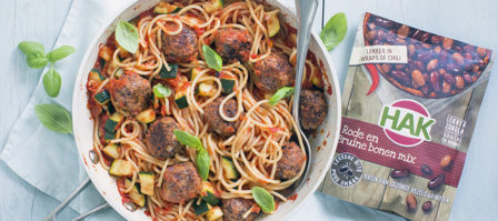 Spaghetti met geHAKtballetjes van bonen