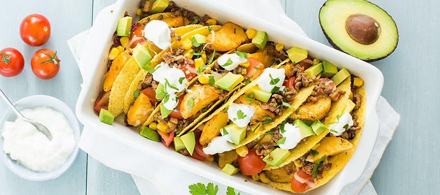 Mexicaanse taco's met aardappeltjes en gehakt