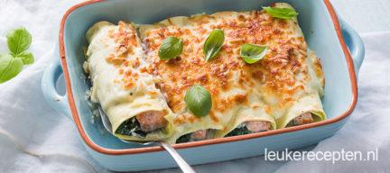 Cannelloni met spinazie en zalm