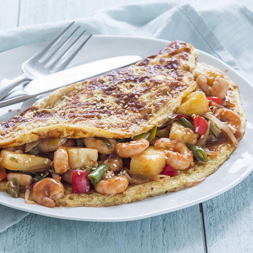 garnalen met zoetzure saus omelet www.leukerecepten.nl